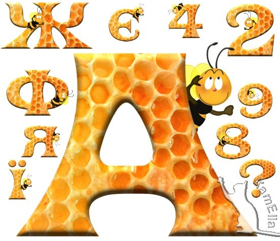 Український алфавіт медовий з бджілками