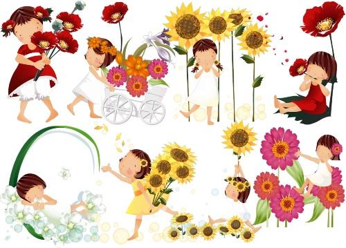 Дівчинка з квітами png