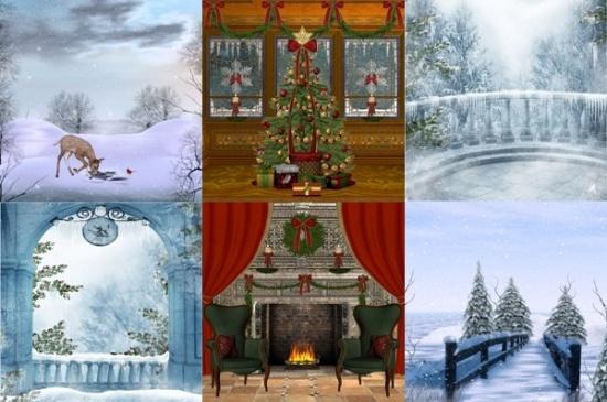 Зимові фони для оформлення робіт