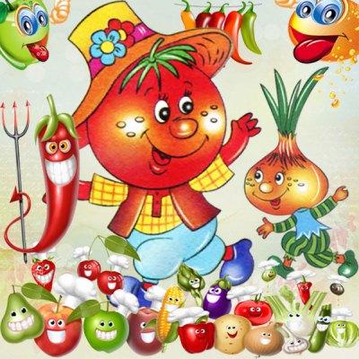 Веселі фрукти і овочі png