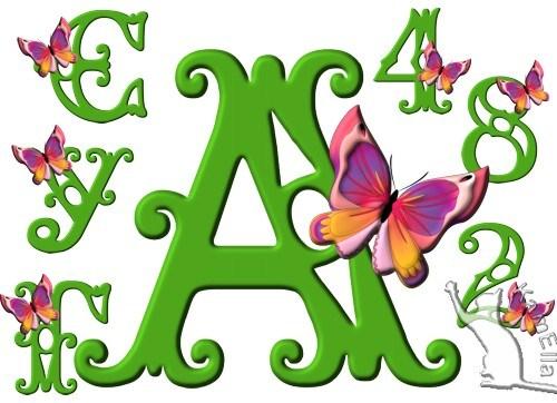 Букви і цифри з метеликами