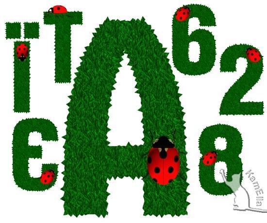 Букви і цифри з трави