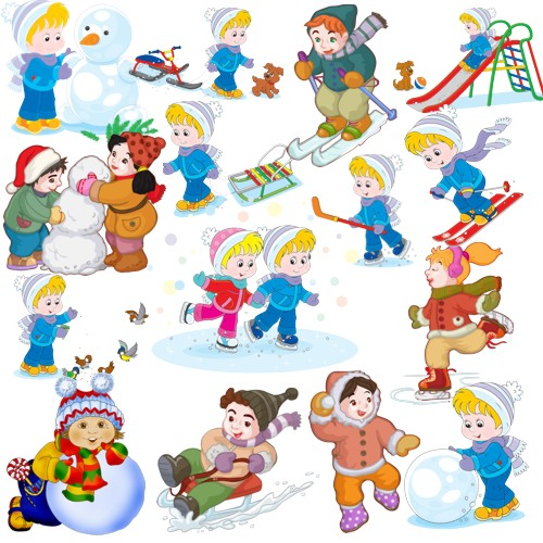 Зимові розваги дітей png